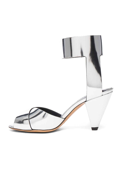 Image 5 of Isabel Marant Etoile Leather Meegan Metallic Heels in Silver