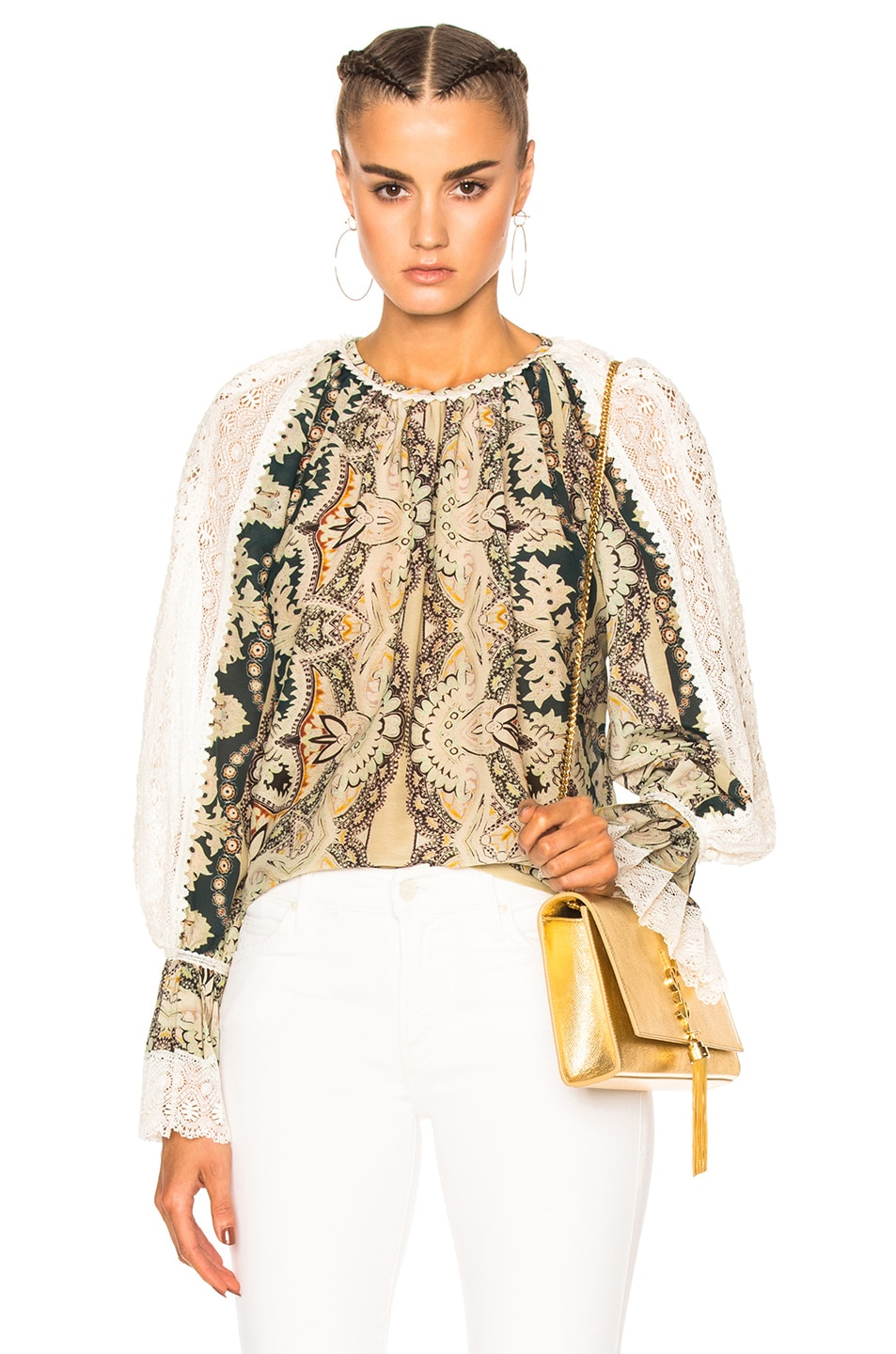 ETRO Printed Cotton And Silk Blouse With Lace at FORWARD