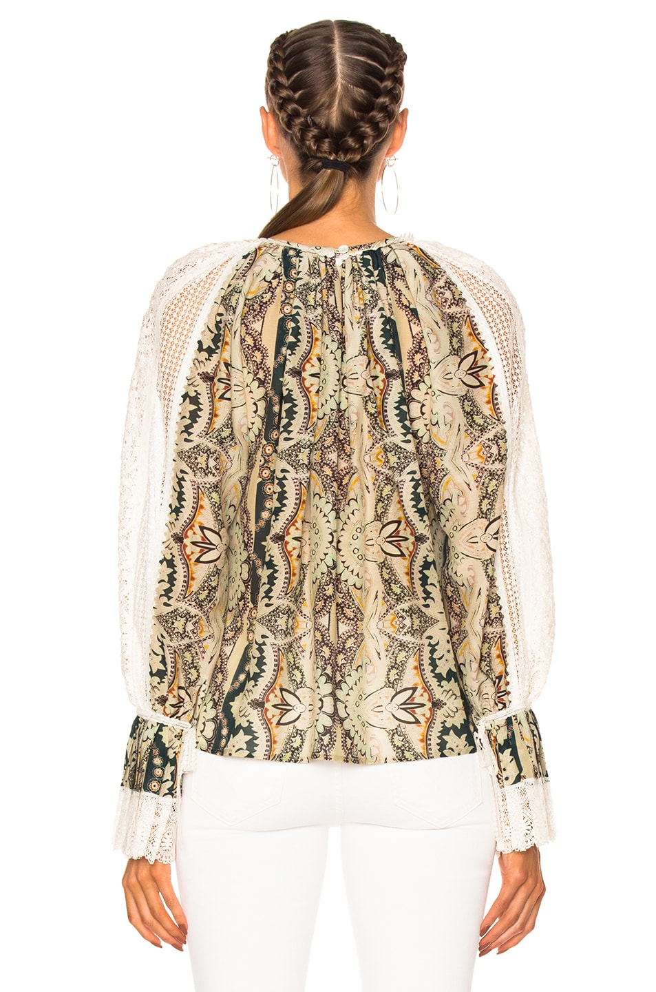 ETRO Printed Cotton And Silk Blouse With Lace