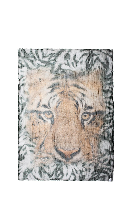 Image 1 of Faliero Sarti Tiger Modal-Blend Scarf in Green & Brown
