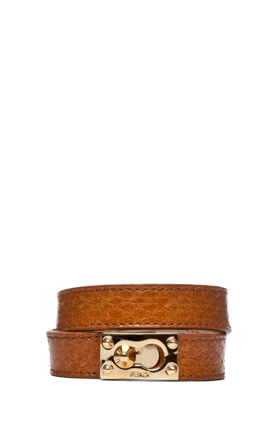 Image 1 of Fendi Wrapped Bracelet in Tan
