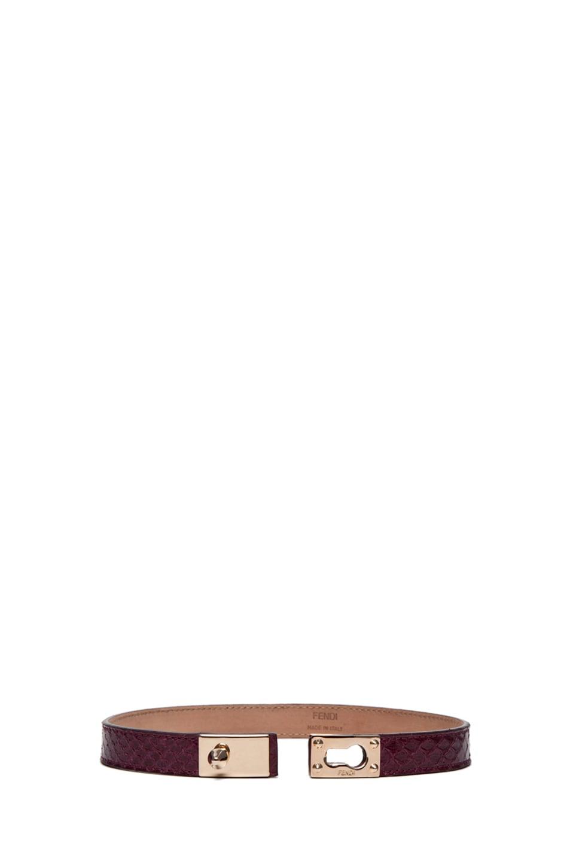 Image 4 of Fendi Wrapped Bracelet in Burgundy