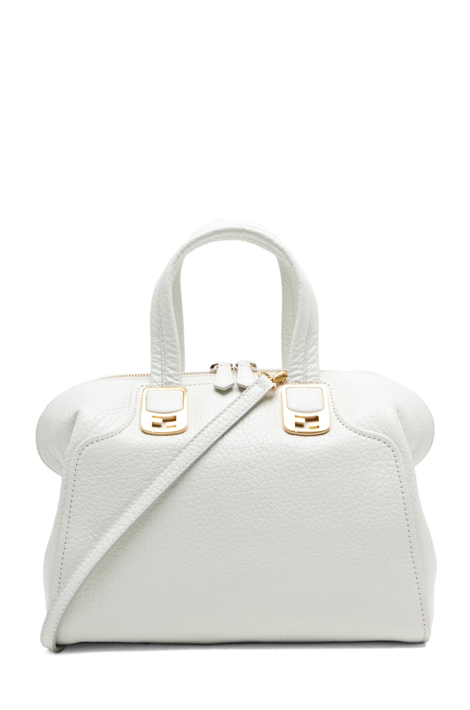 Image 1 of Fendi Medium Satchel Bag in White