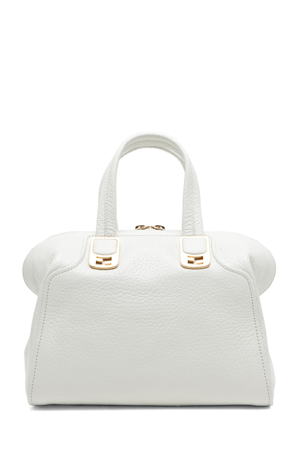 Image 2 of Fendi Medium Satchel Bag in White