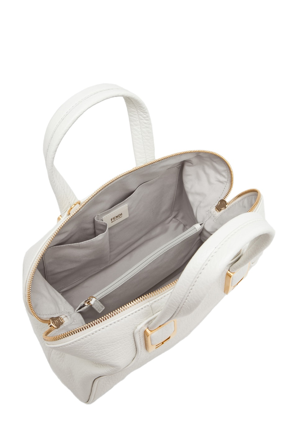Image 4 of Fendi Medium Satchel Bag in White
