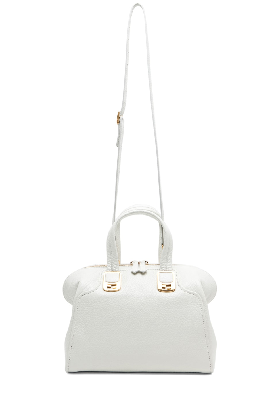 Image 5 of Fendi Medium Satchel Bag in White