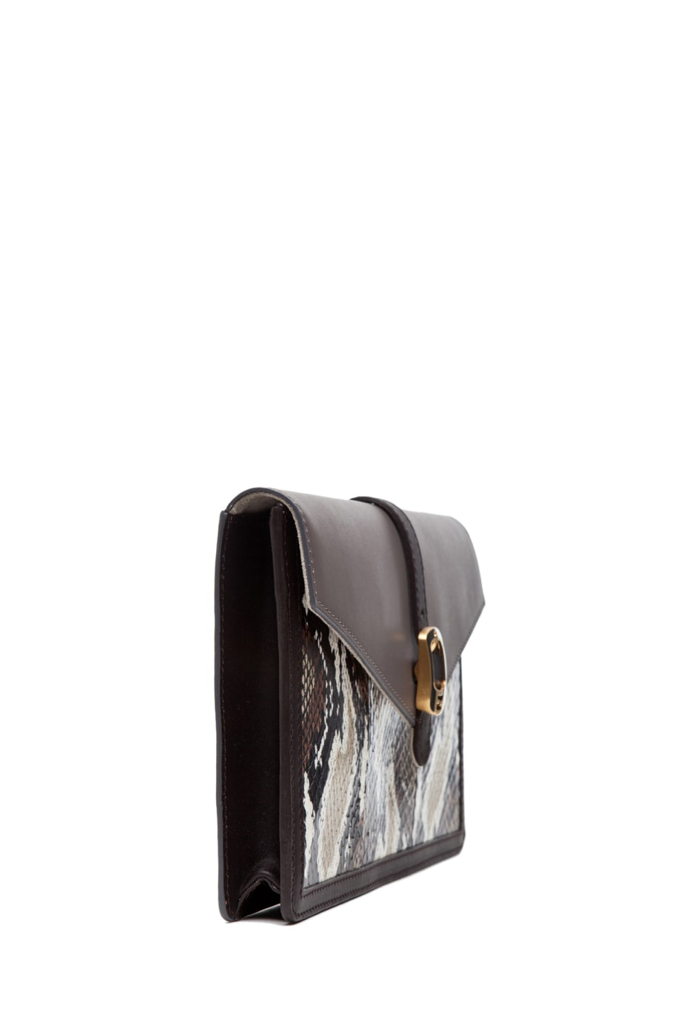 Image 3 of Fendi Envelope Purse in Grey Snake
