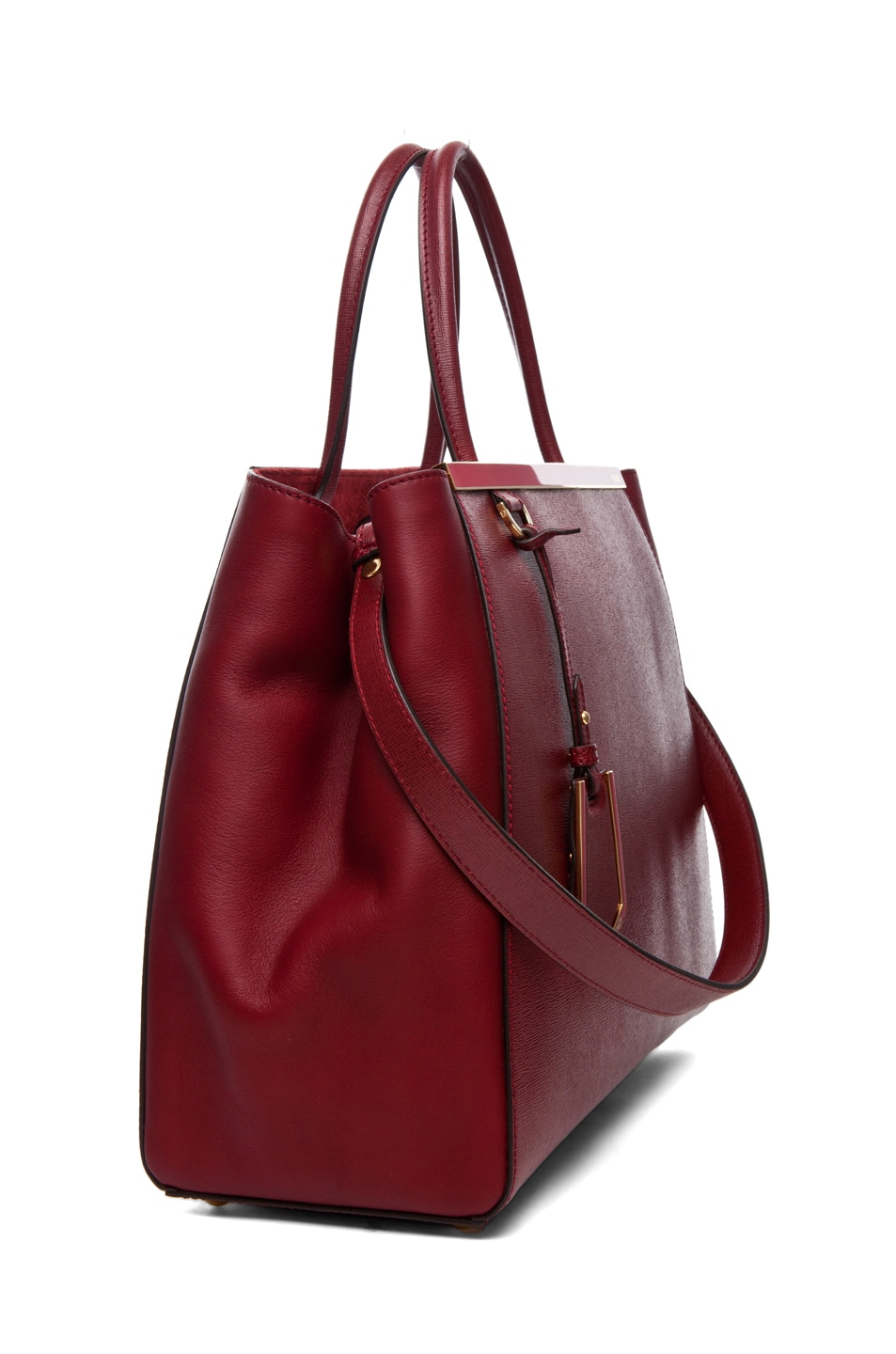 Image 3 of Fendi Medium Shopper Bag in Dark Cherry