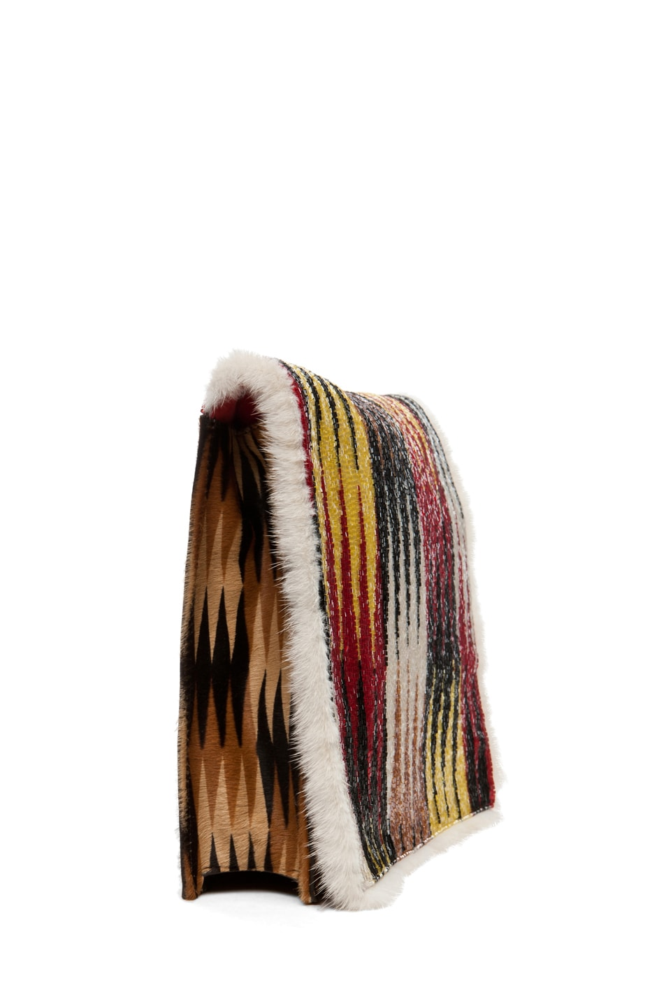 Image 3 of Fendi Daisy Shoulder Bag with Mink Fur in Red Multi