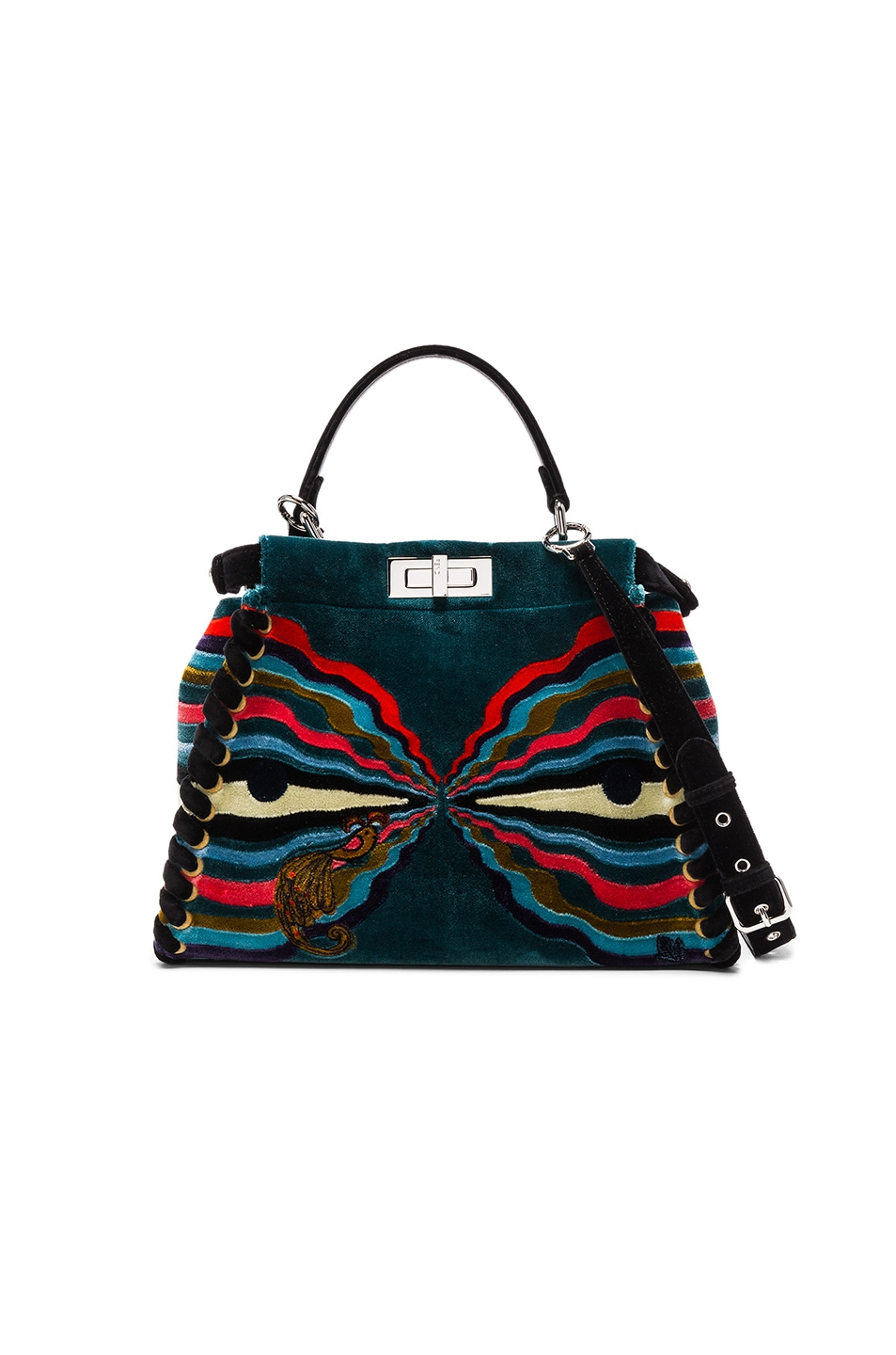 Image 2 of Fendi Hypnogarden Embroidered Regular Peekaboo in Multicolor & Black Palladium
