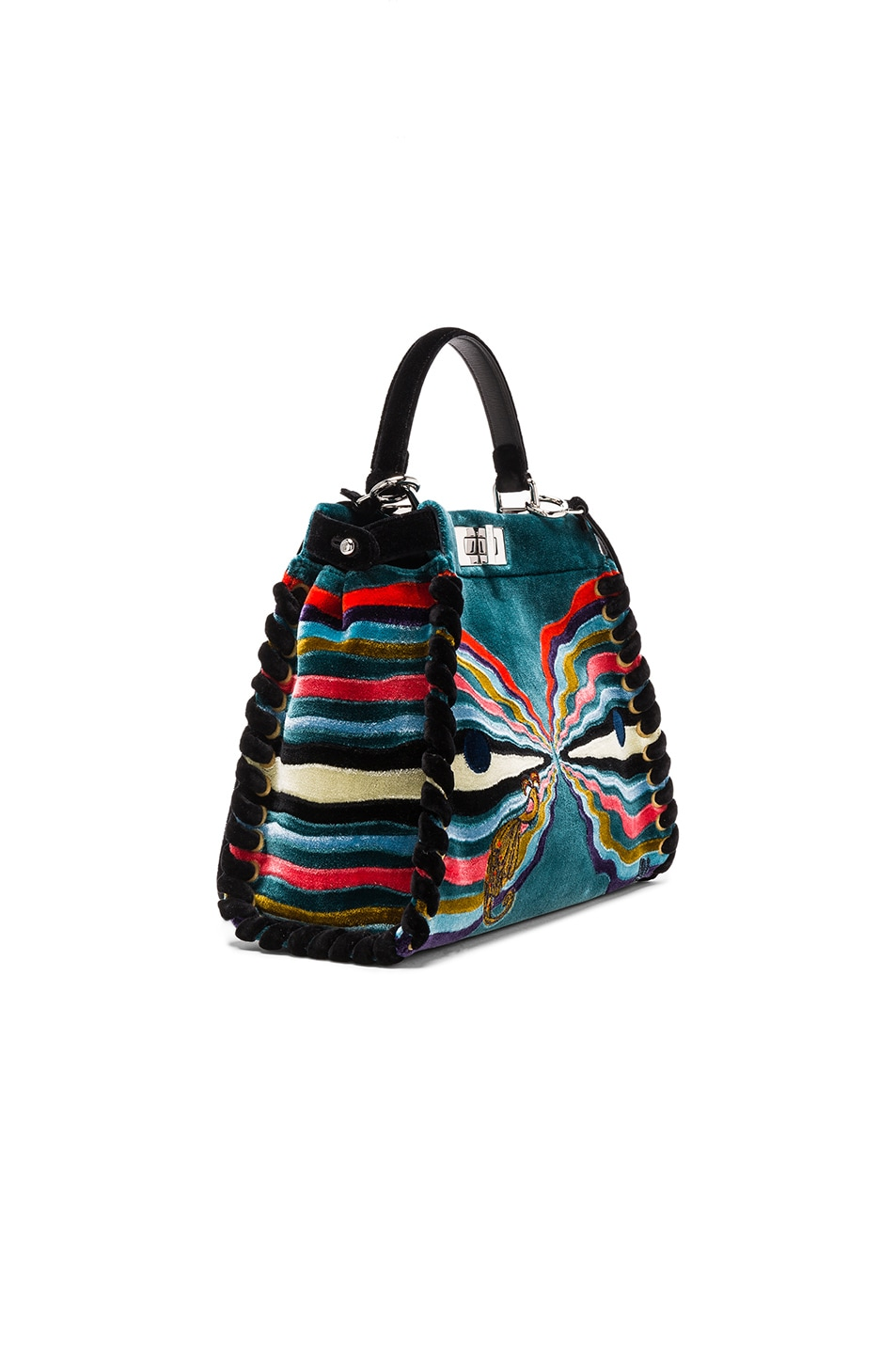 Image 3 of Fendi Hypnogarden Embroidered Regular Peekaboo in Multicolor & Black Palladium