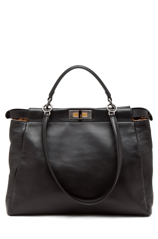 Image 1 of Fendi Peekaboo Handbag in Black/Leopard