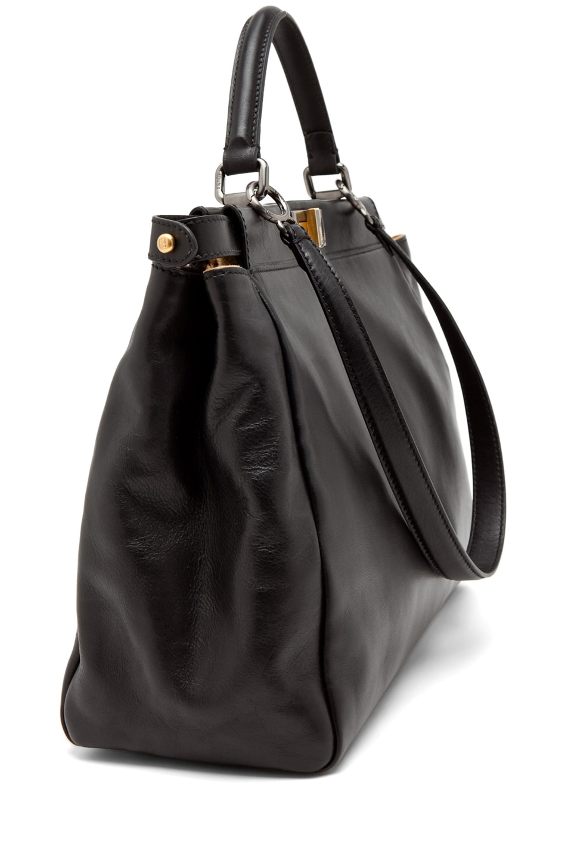 Image 3 of Fendi Peekaboo Handbag in Black/Leopard