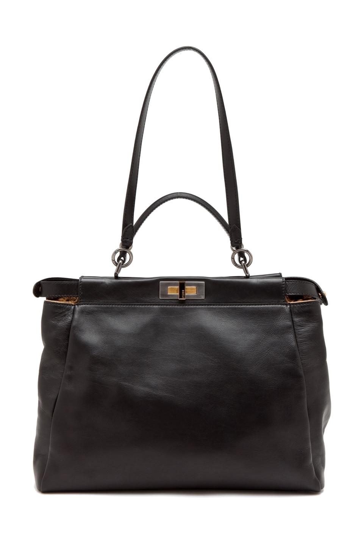 Image 4 of Fendi Peekaboo Handbag in Black/Leopard