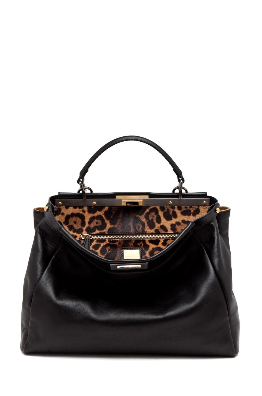 Image 5 of Fendi Peekaboo Handbag in Black/Leopard