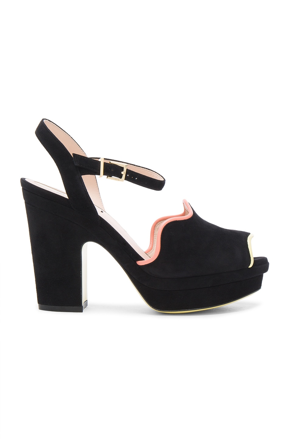 Fendi Suede Ankle Strap Heels in Black Waves | FWRD