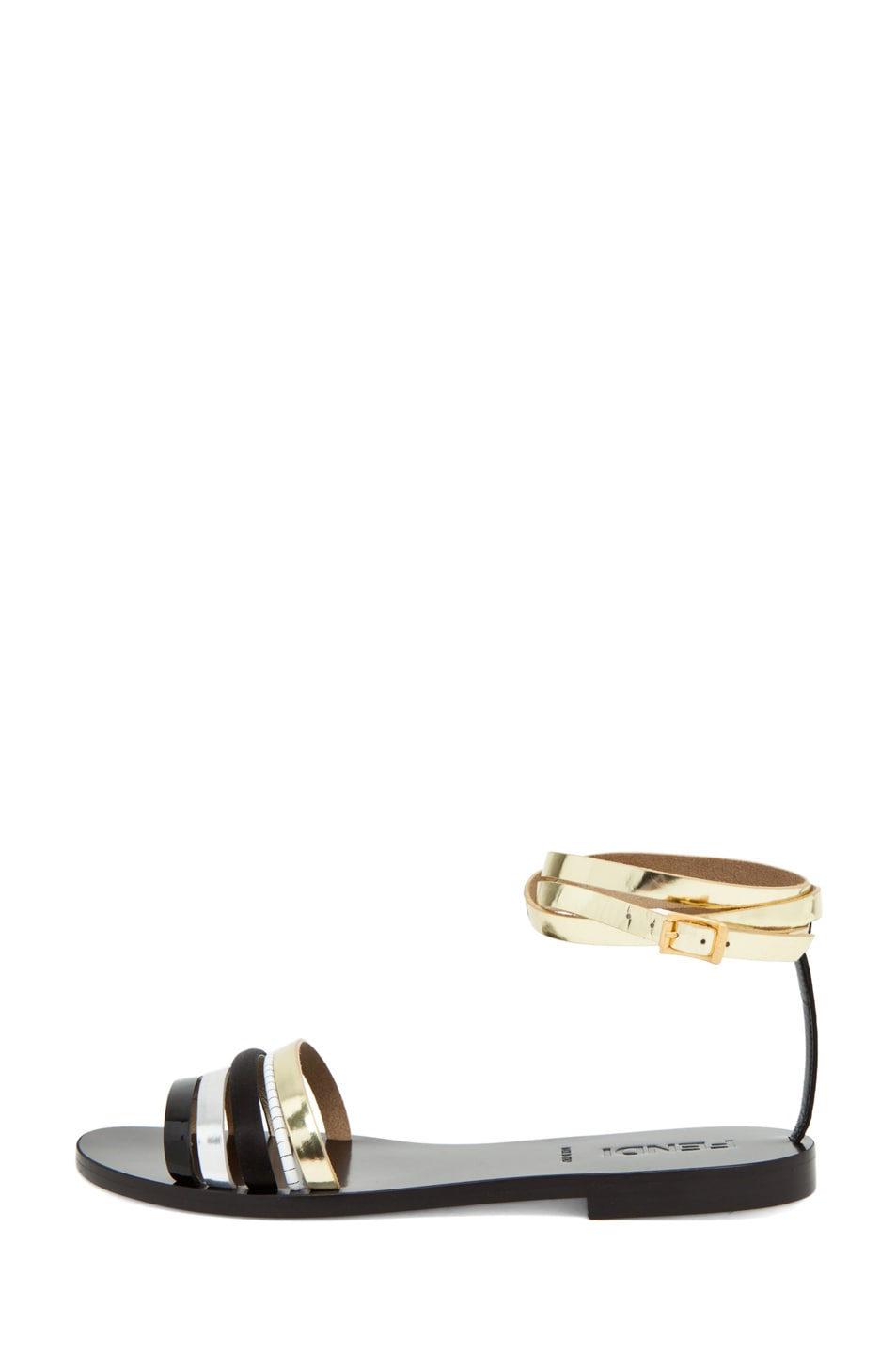 Image 1 of Fendi Strappy Sandal in Black/Silver