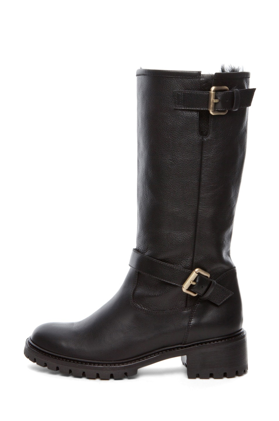 Image 1 of Fendi Military Rabbit Fur Lined Boot in Black
