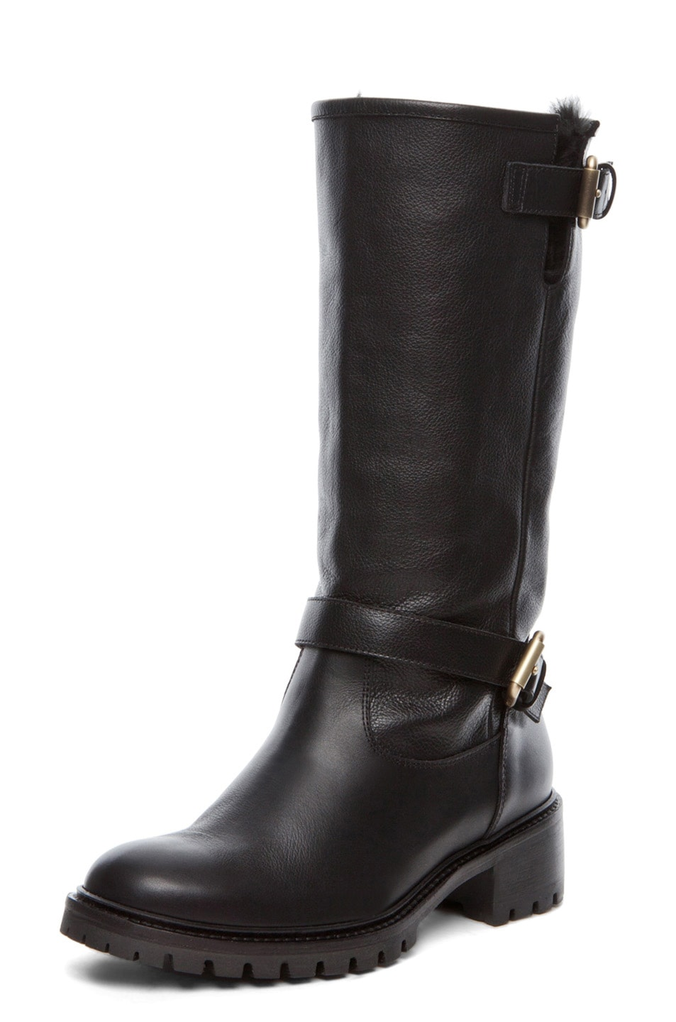 Image 2 of Fendi Military Rabbit Fur Lined Boot in Black