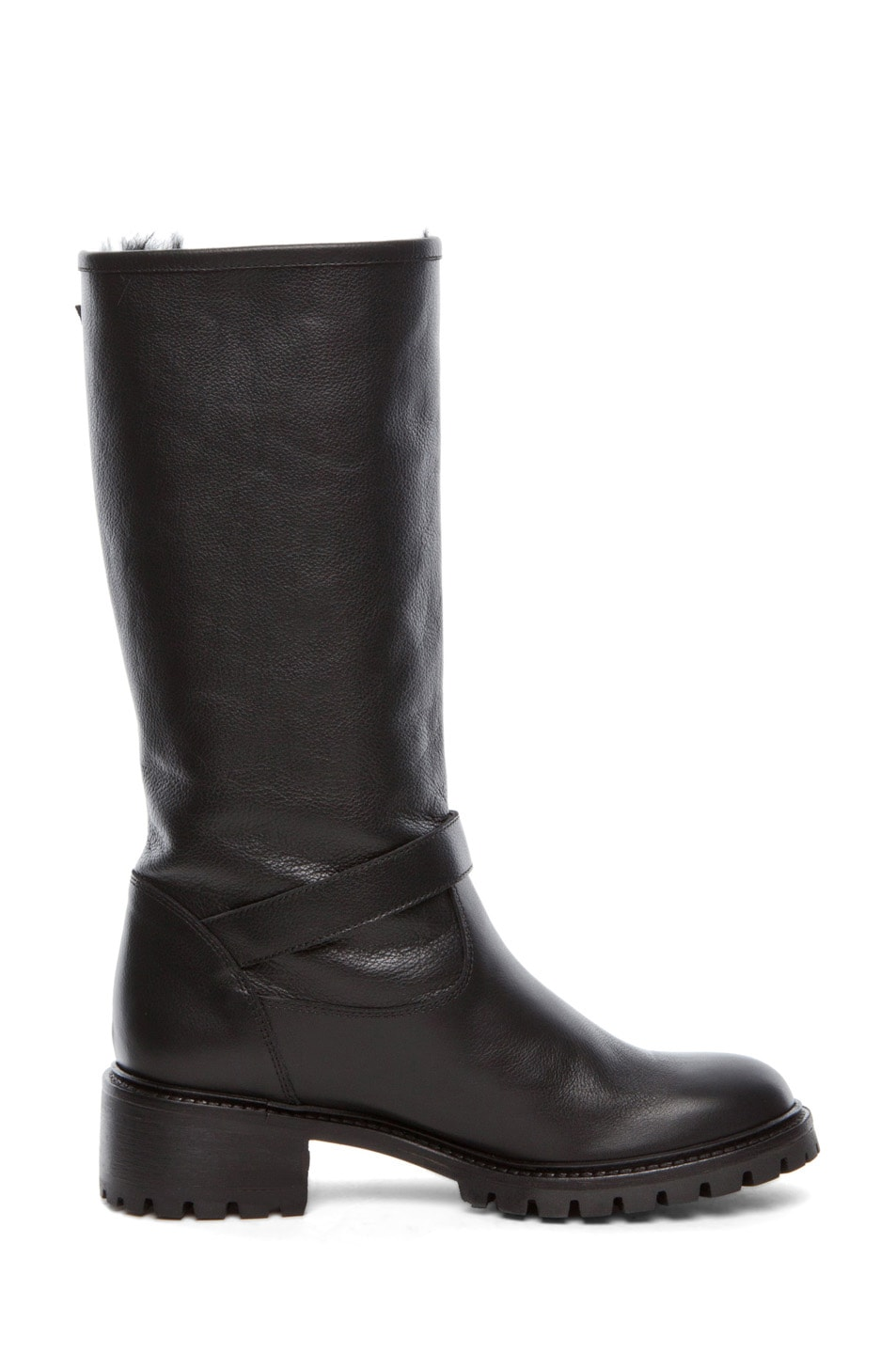 Image 5 of Fendi Military Rabbit Fur Lined Boot in Black