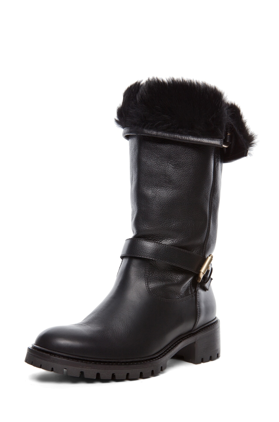 Image 6 of Fendi Military Rabbit Fur Lined Boot in Black