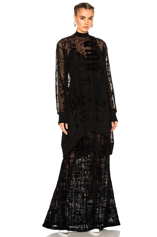 Image 5 of Fenty by Puma Flocked Tulle Mini Dress in Black