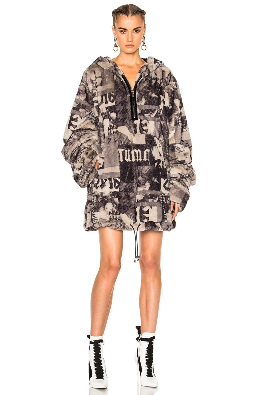 Image 1 of Fenty by Puma Printed Faux Fur Jacket in Grey Multi