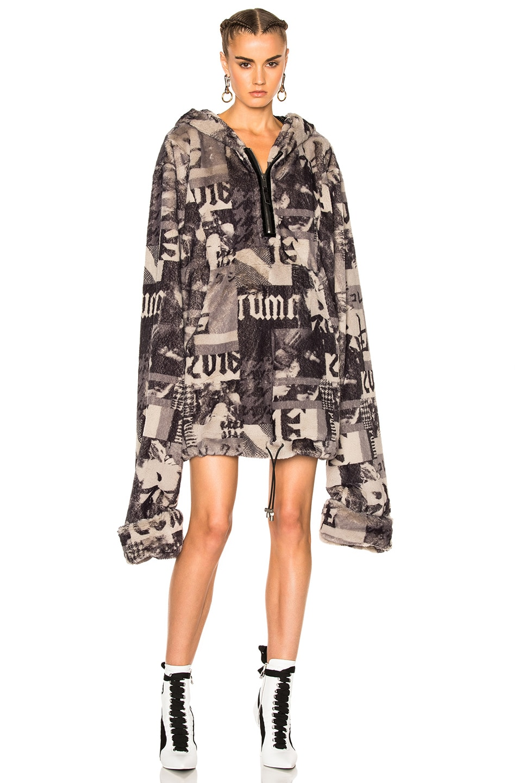 Image 5 of Fenty by Puma Printed Faux Fur Jacket in Grey Multi