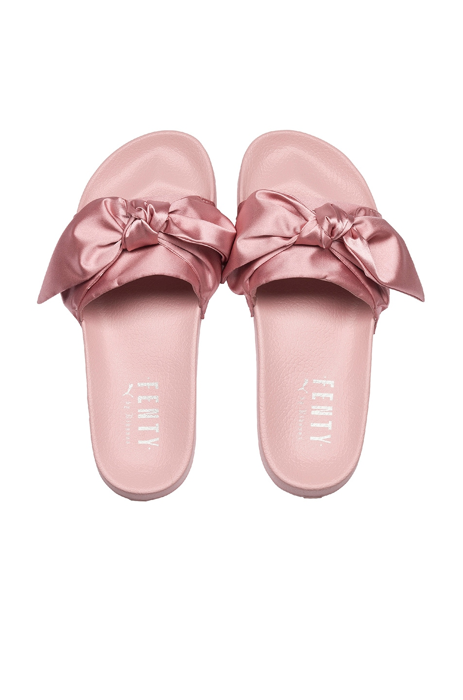 Image 2 of Fenty by Puma Bow Satin Slides in Silver Pink