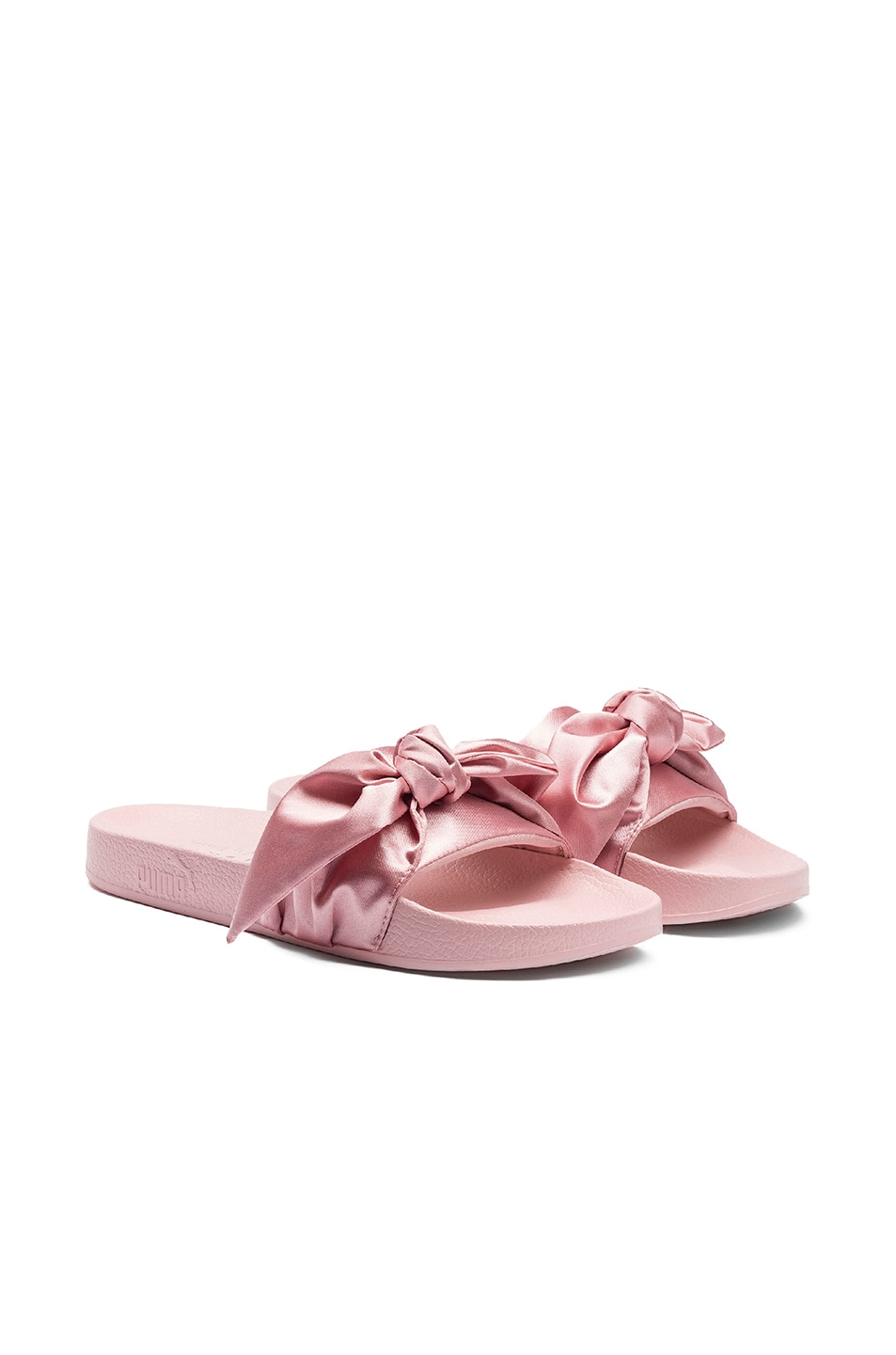 Image 5 of Fenty by Puma Bow Satin Slides in Silver Pink