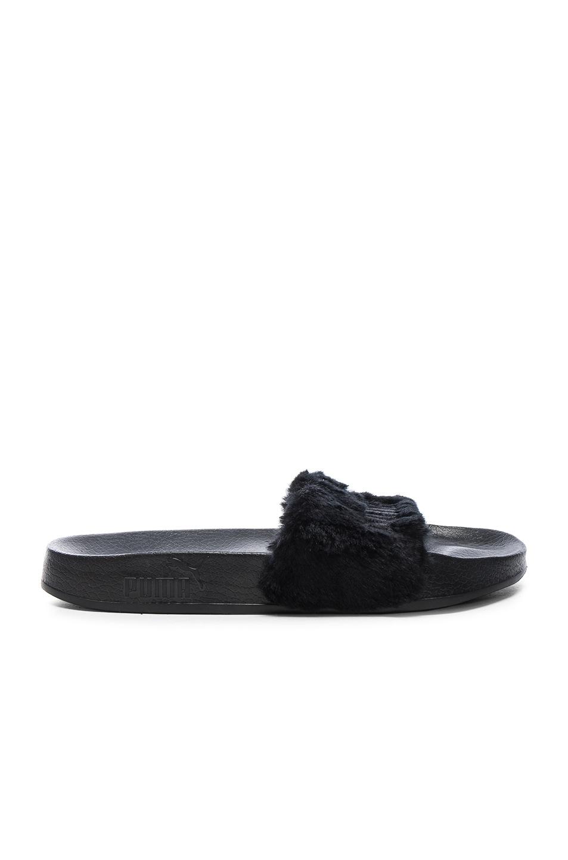Image 2 of Fenty by Puma Leadcat Faux Fur Slide Sandals in Black & Silver