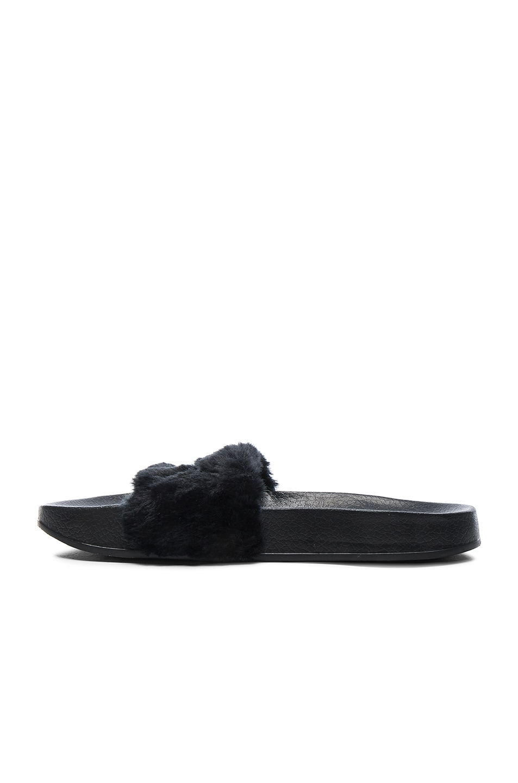 Image 5 of Fenty by Puma Leadcat Faux Fur Slide Sandals in Black & Silver