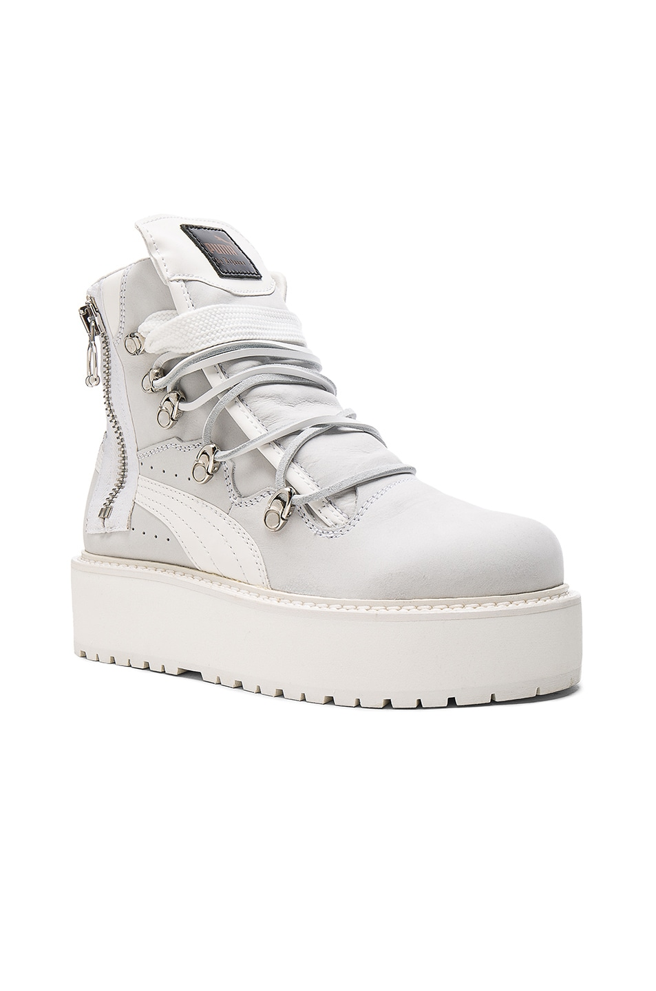 Image 2 of Fenty by Puma Leather Sneaker Boots in White