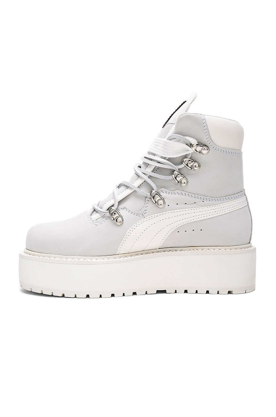 Image 5 of Fenty by Puma Leather Sneaker Boots in White