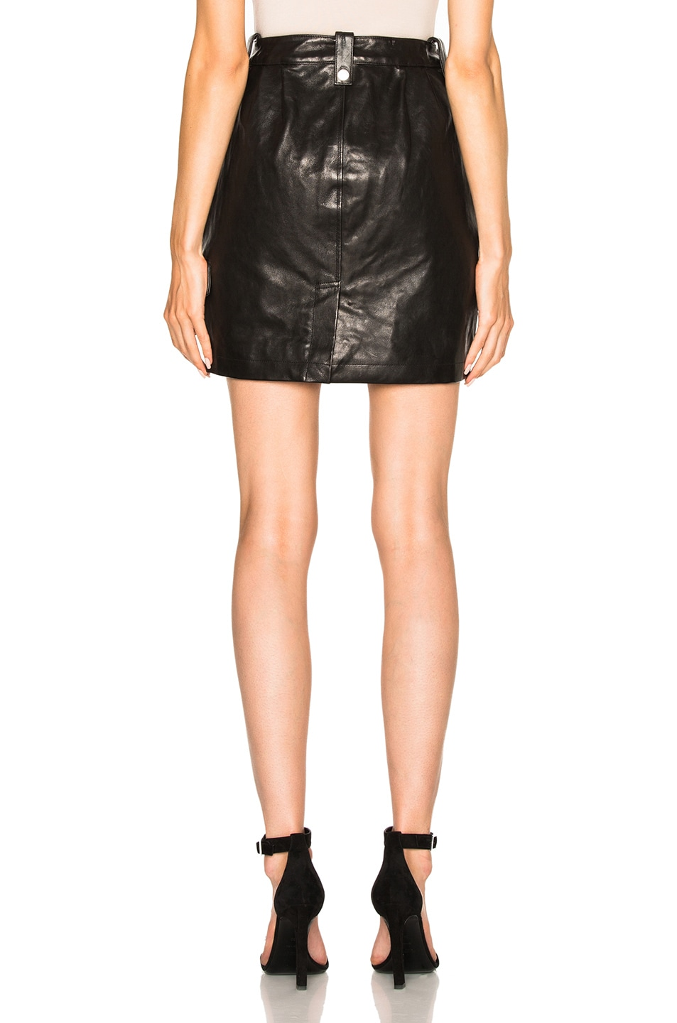 Image 4 of FRAME Denim Moto Skirt in Noir