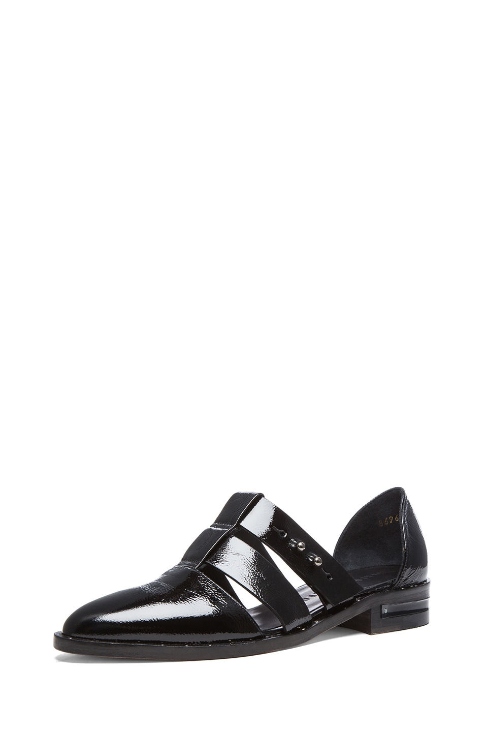 Image 2 of Freda Salvador Lock Patent Leather Oxfords in Black Patent