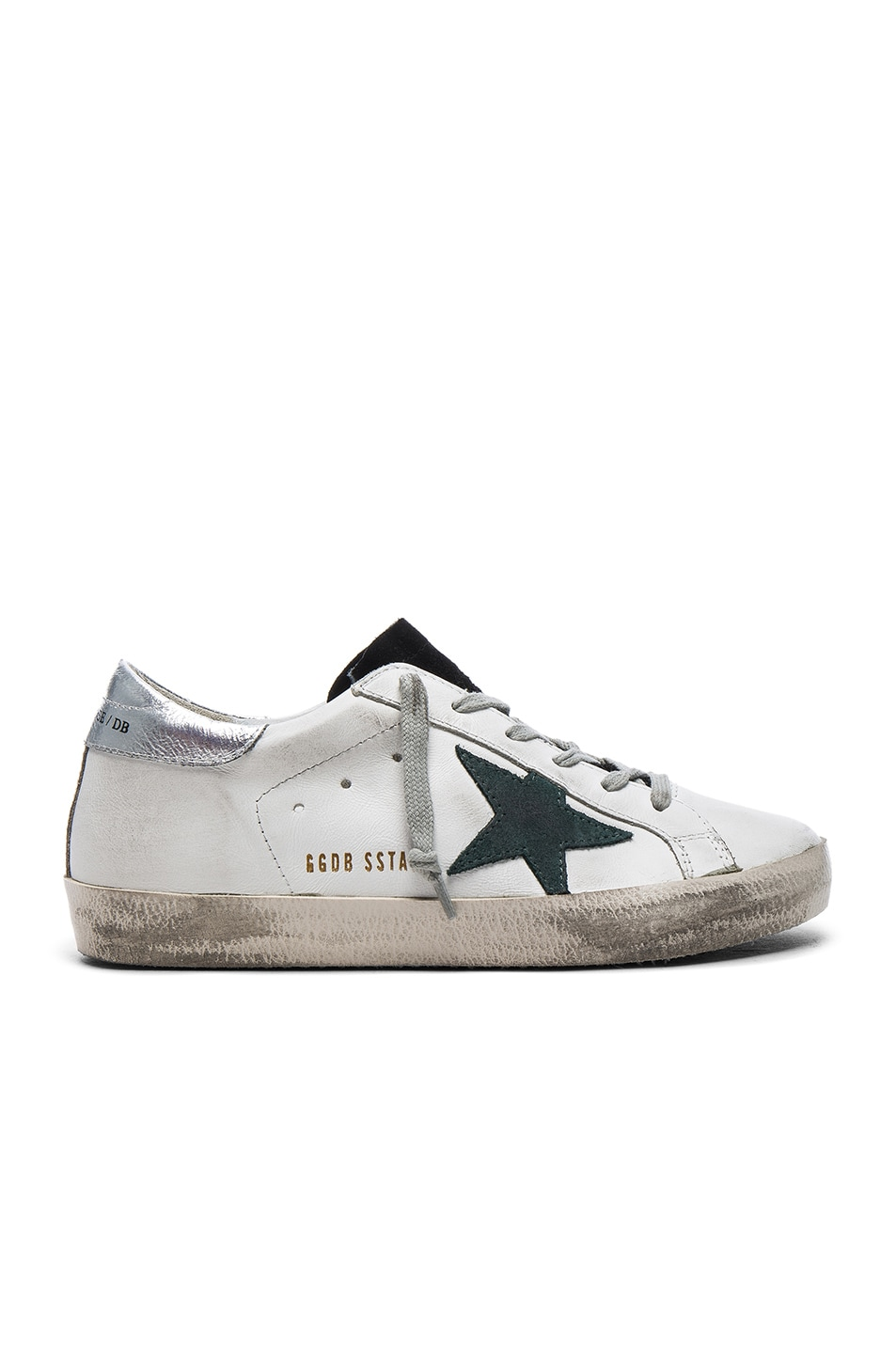 Image 1 of Golden Goose Leather Superstar Low Sneakers in White & Petroleum