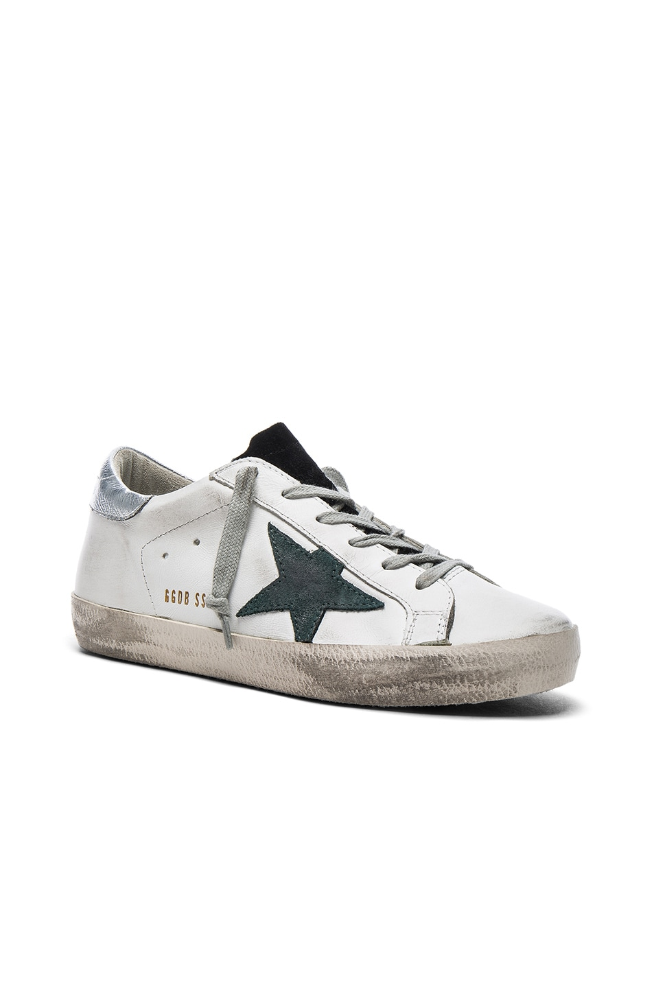 Image 2 of Golden Goose Leather Superstar Low Sneakers in White & Petroleum
