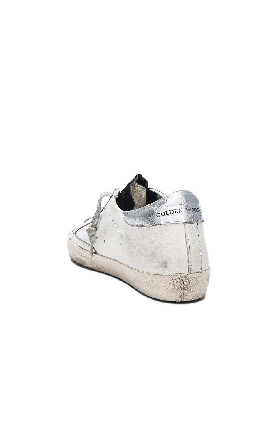 Image 3 of Golden Goose Leather Superstar Low Sneakers in White & Petroleum