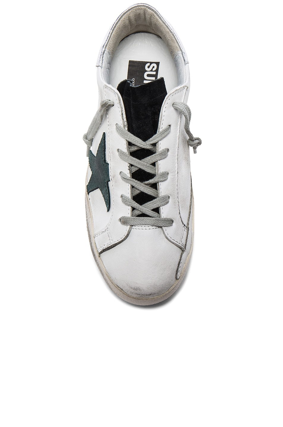 Image 4 of Golden Goose Leather Superstar Low Sneakers in White & Petroleum