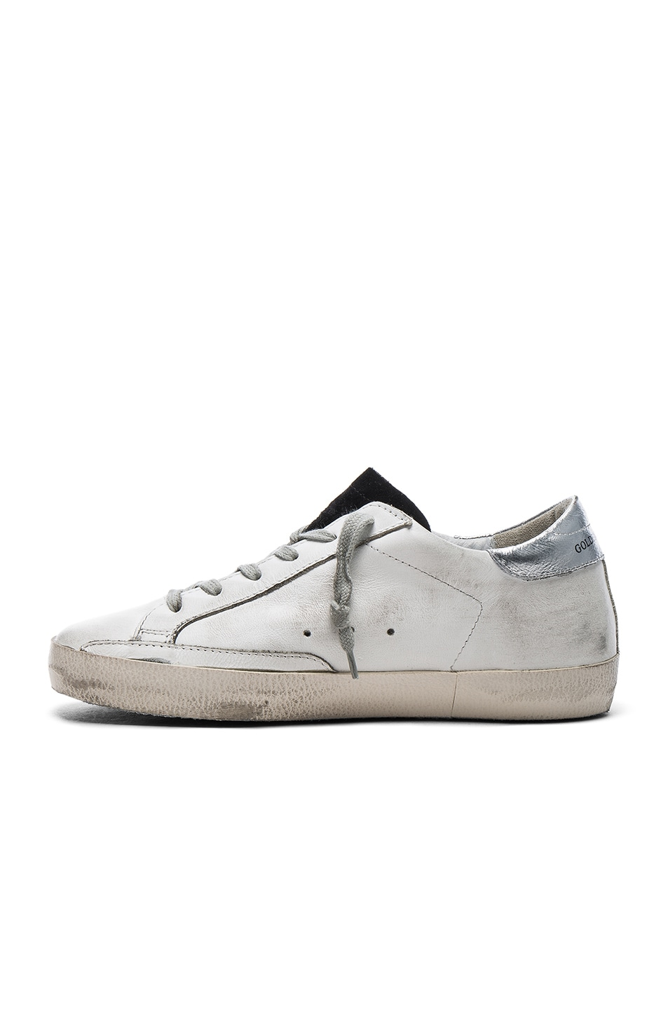 Image 5 of Golden Goose Leather Superstar Low Sneakers in White & Petroleum