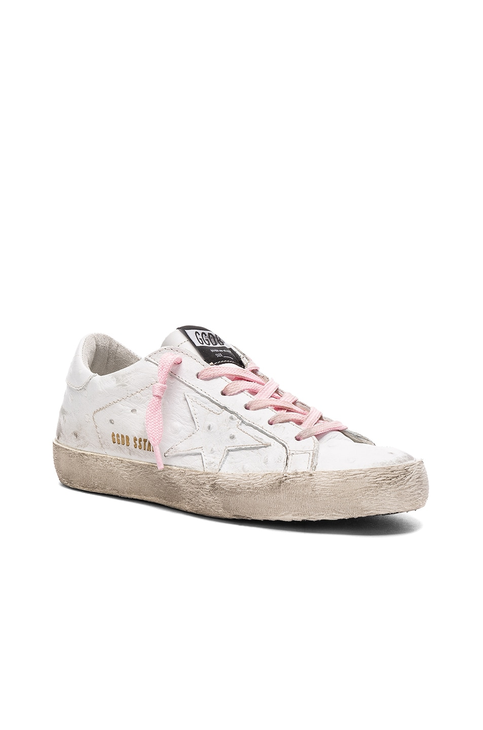 Image 2 of Golden Goose Leather Superstar Low Sneakers in White & Pink