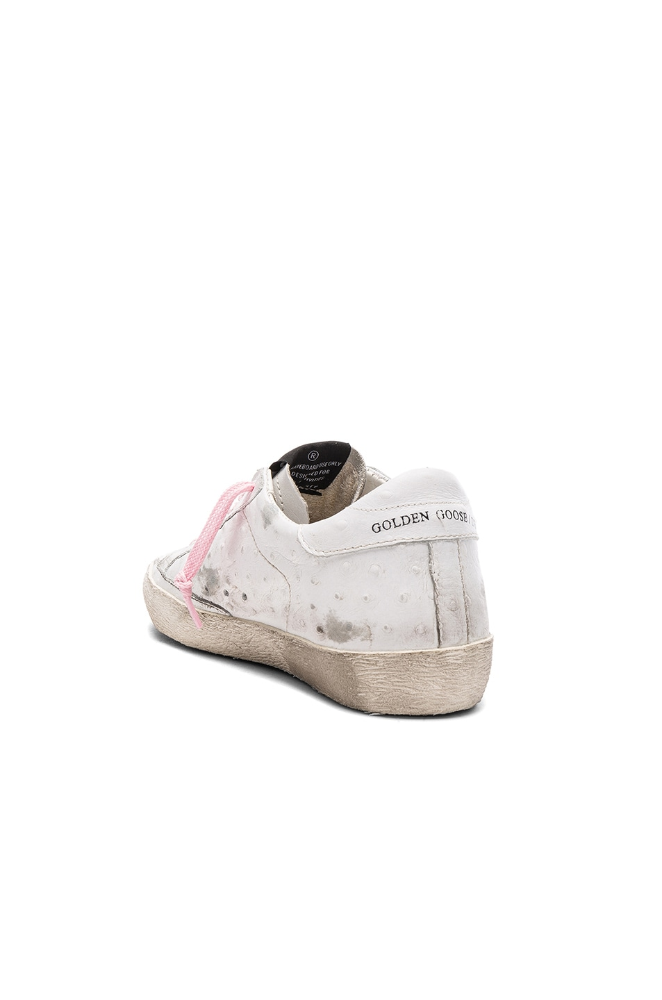 Image 3 of Golden Goose Leather Superstar Low Sneakers in White & Pink