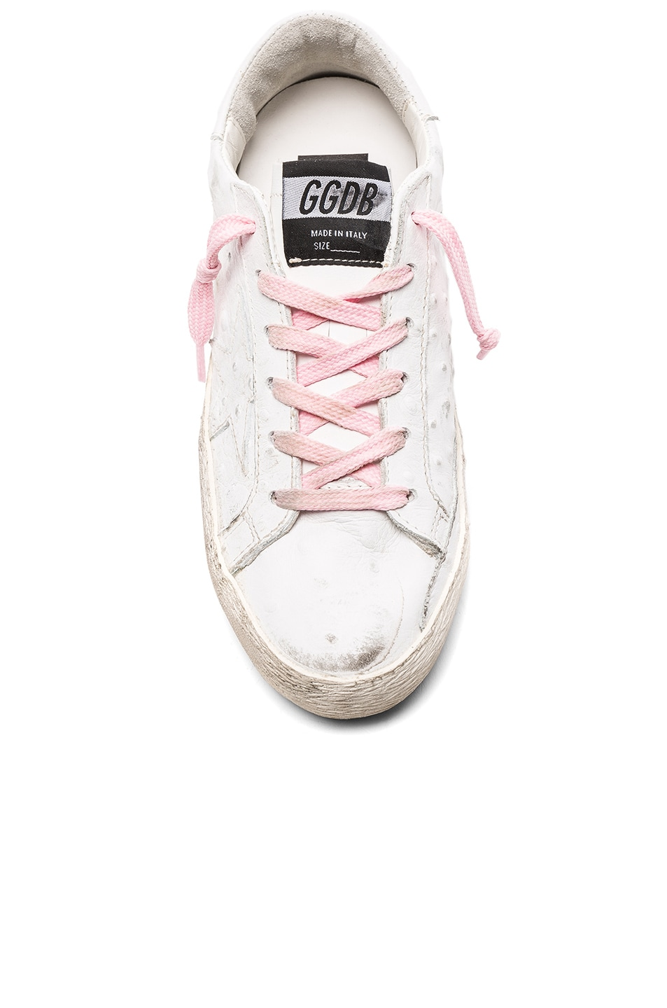 Image 4 of Golden Goose Leather Superstar Low Sneakers in White & Pink