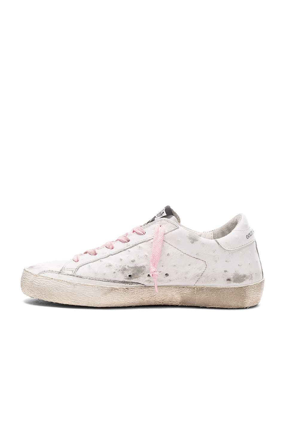 Image 5 of Golden Goose Leather Superstar Low Sneakers in White & Pink