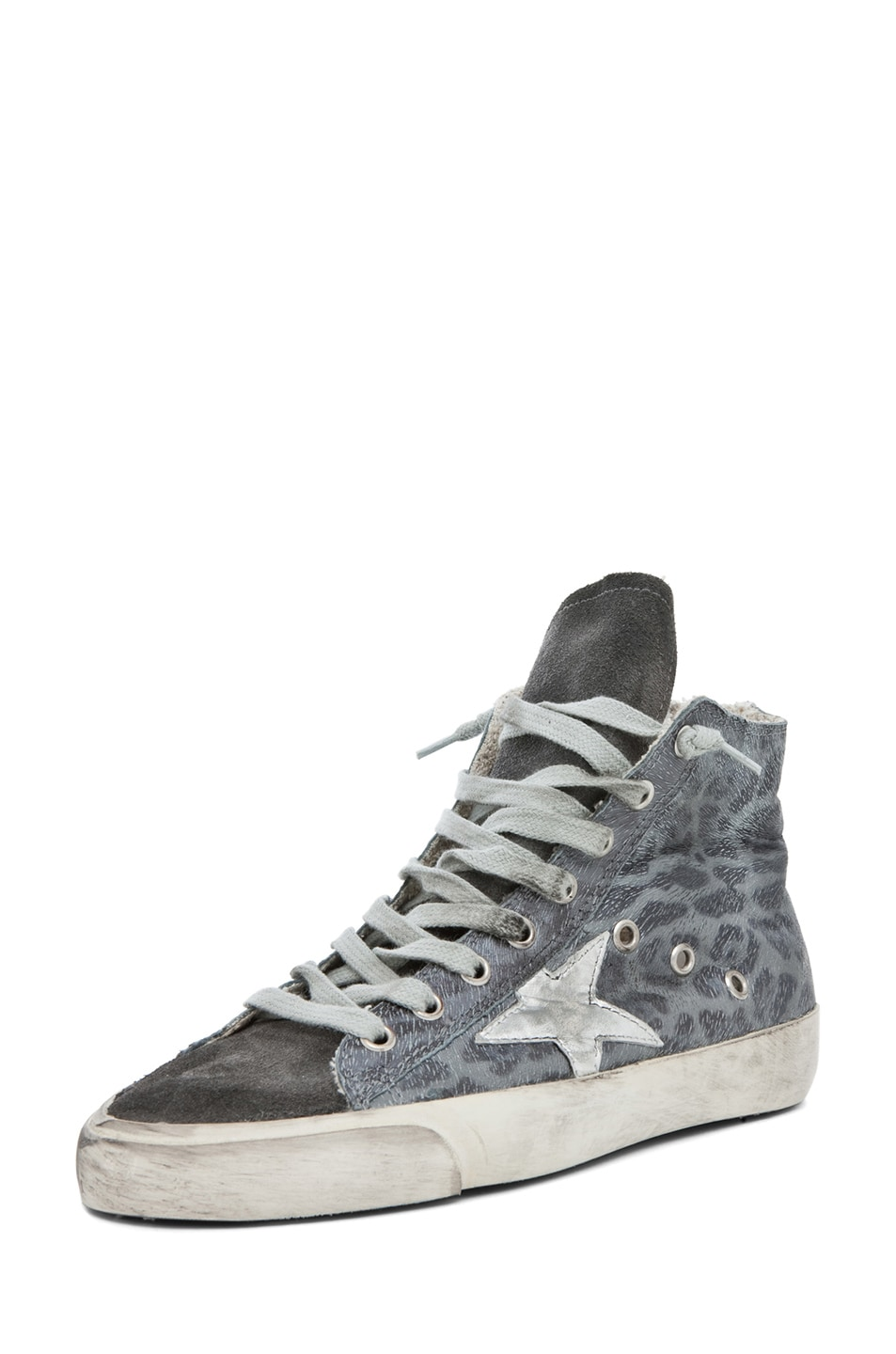 Image 2 of Golden Goose Francy Leopard High Top Sneaker in Silver