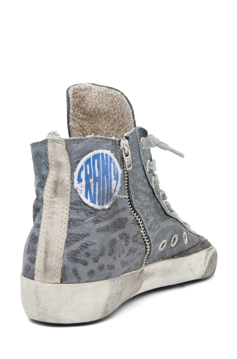 Image 3 of Golden Goose Francy Leopard High Top Sneaker in Silver
