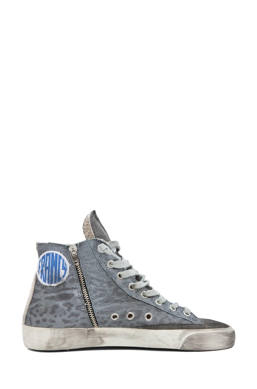 Image 5 of Golden Goose Francy Leopard High Top Sneaker in Silver