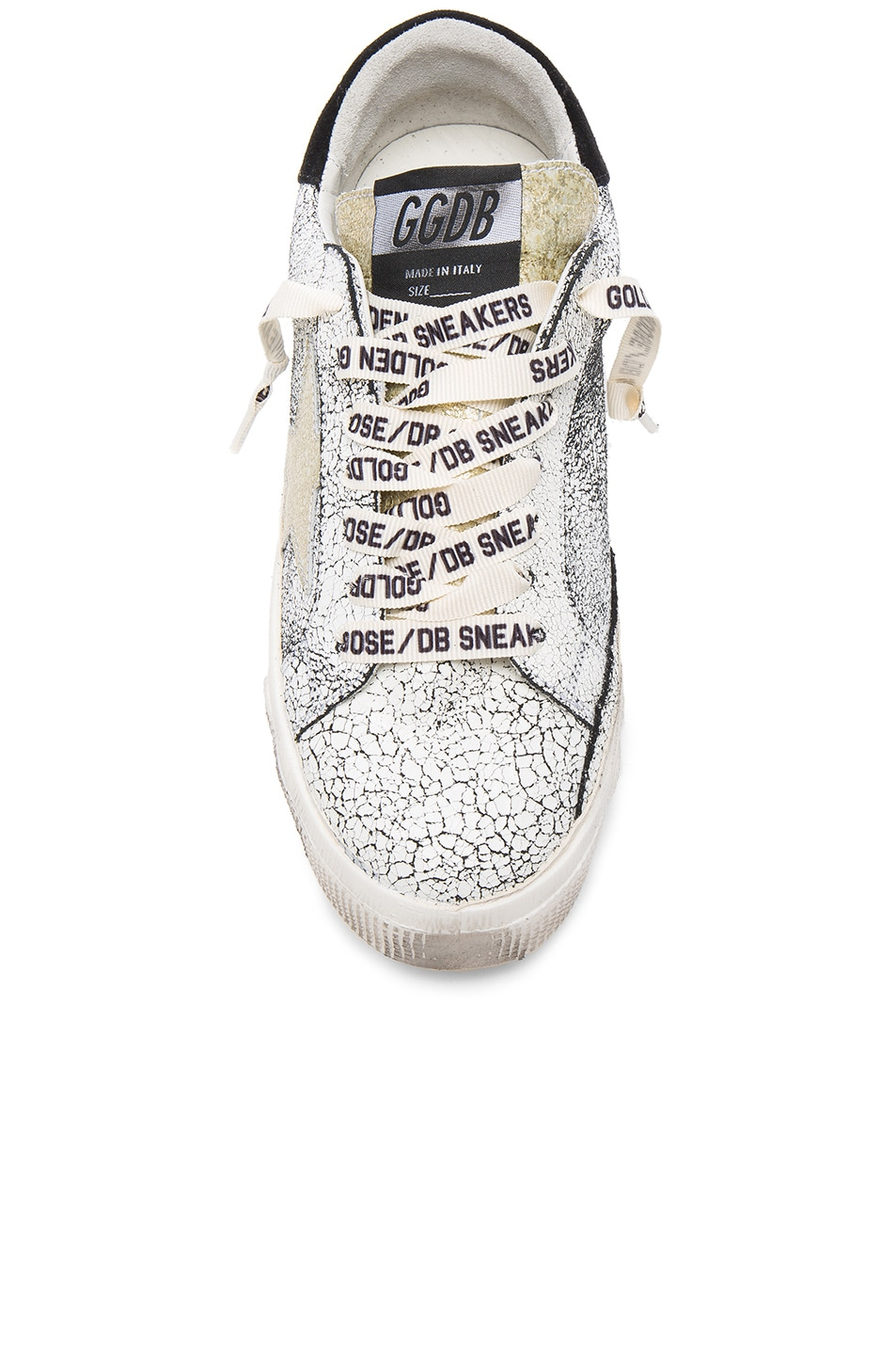 GOLDEN GOOSE May Star Low-Top Sneaker, White Crackled/Gold