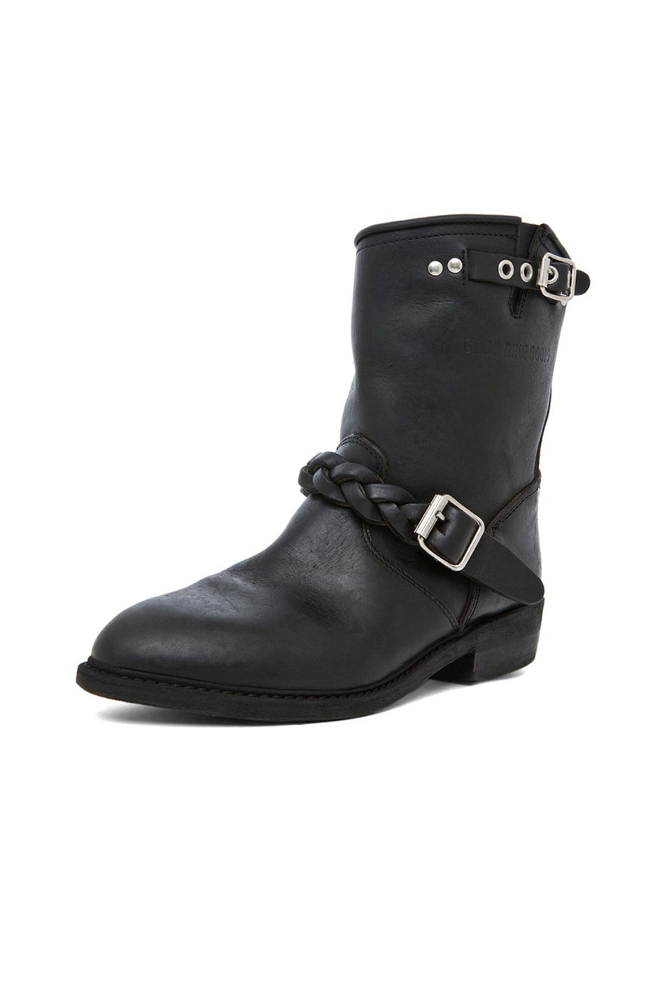 Image 2 of Golden Goose Leather Short Biker Boots in Black Stud